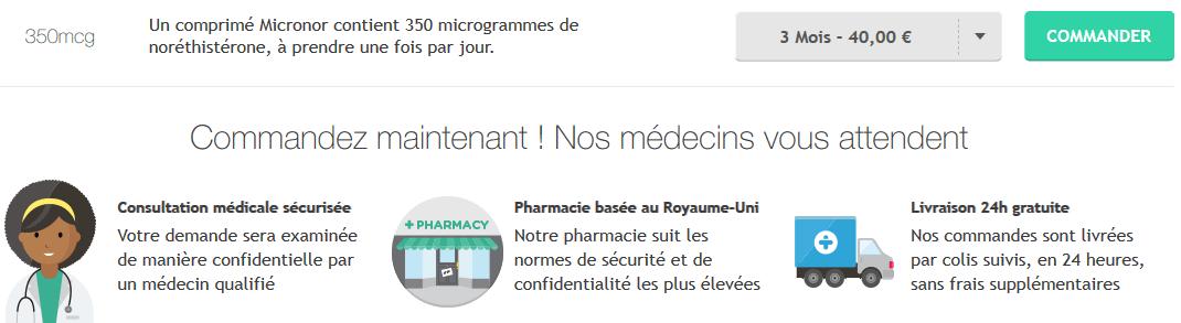 pilule micronor prix