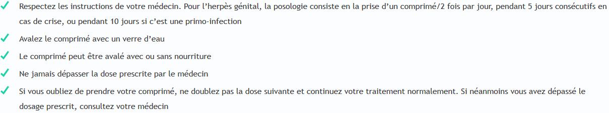 valaciclovir posologie