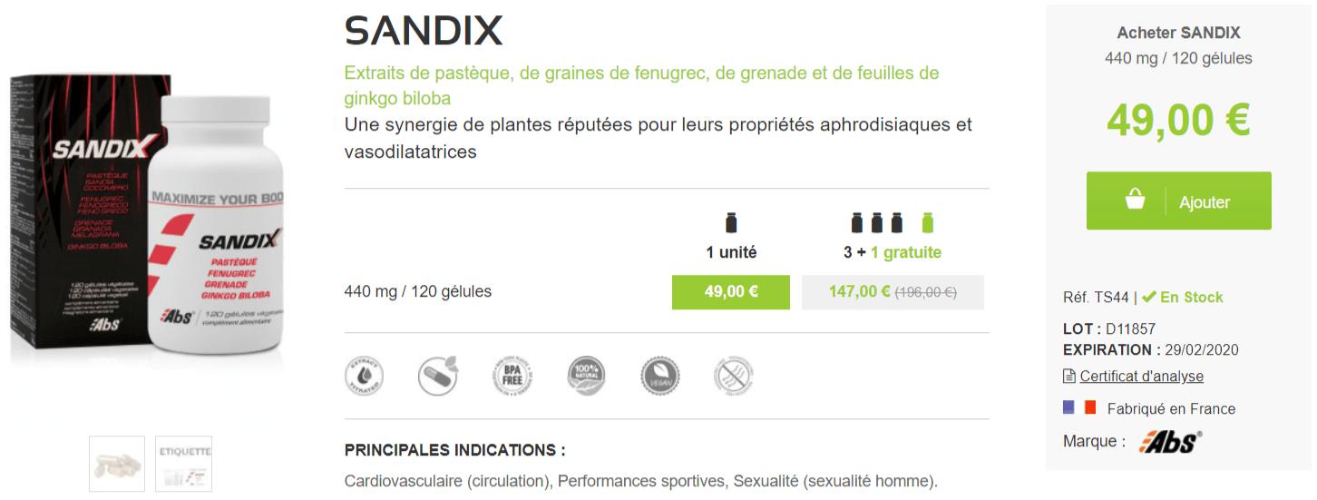 sandix prix